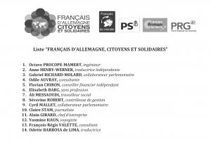 Bulletin de vote à l'urne pour la liste Francais d'Allemagne - Citoyens et Solidaires