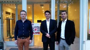 Francois Valette, Gabriel Richard-Molard et Octave Procope devant l'Institut Français de Cologne